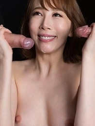 Aya Kisaki Jerks Off Cock with Cum