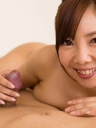 Mio Yoshida giving a footjob in a hot POV gallery, check out her cum-covered toes
