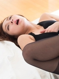 Leggy pantyhose-clad chick Uika Hoshikawa fucked hard in multiple positions